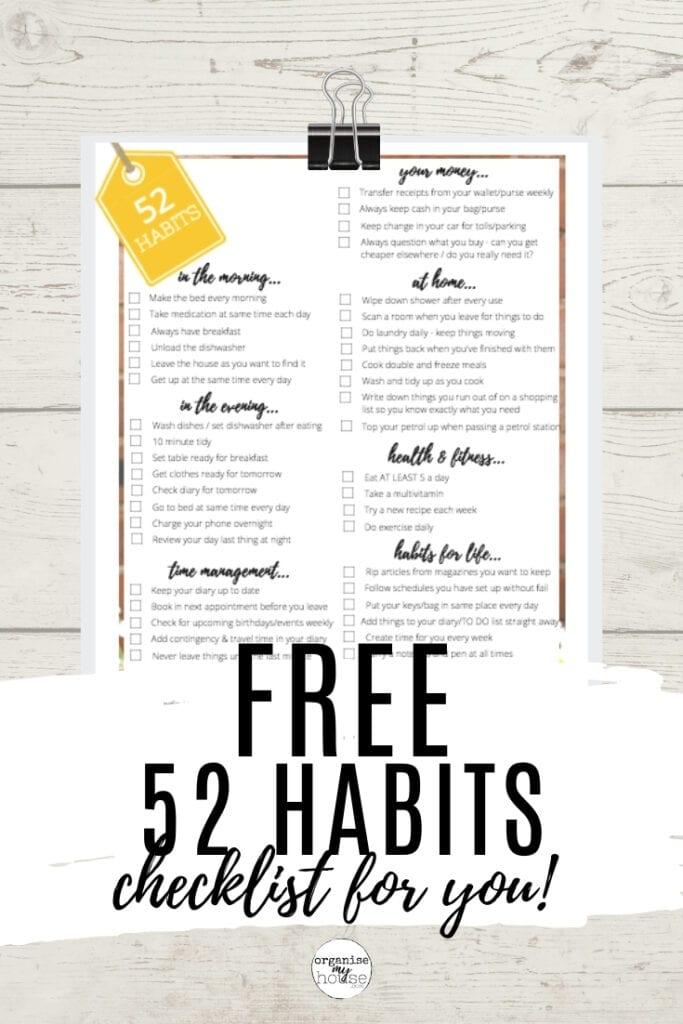 Free printable - 52 Habits To Change Your Life