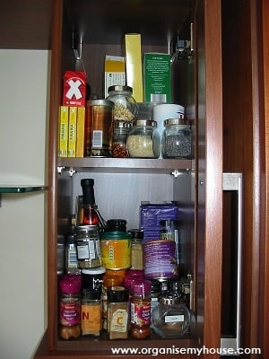 Herb and Spice Cupboard before organising - from Organise My House