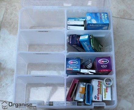 Labelling the sections of medicine storage - via www.organisemyhouse.com