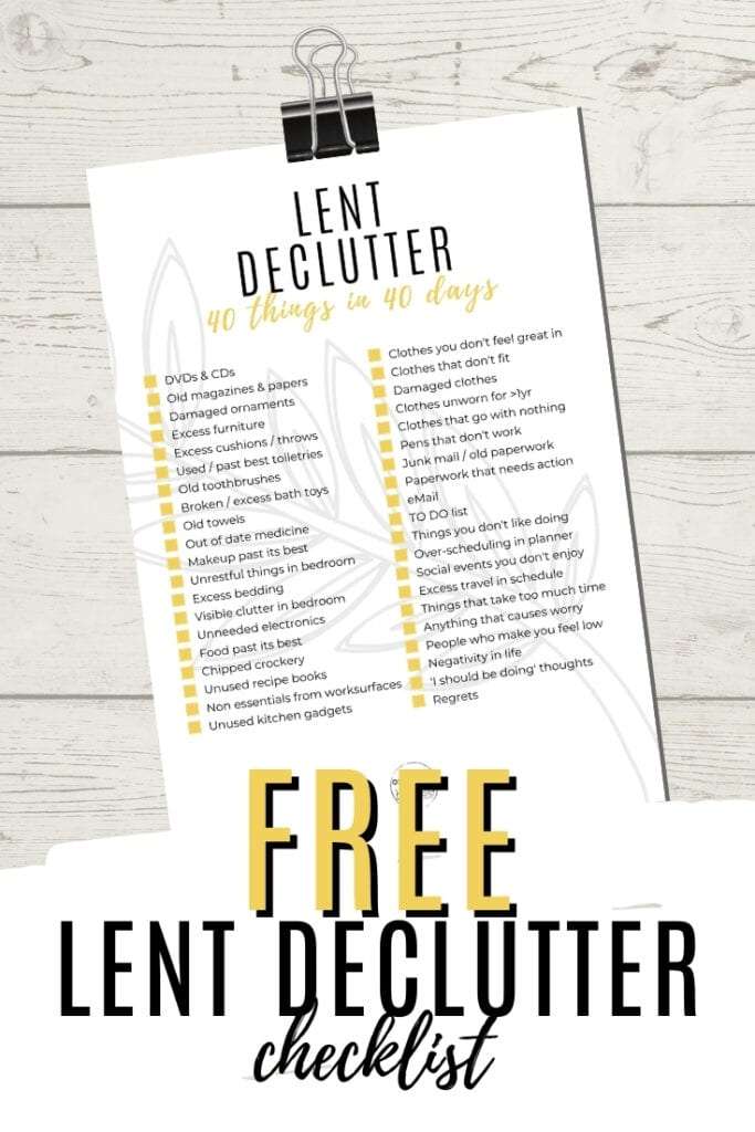 40 Items To Declutter From Your Life This Lent - FREE PRINTABLE