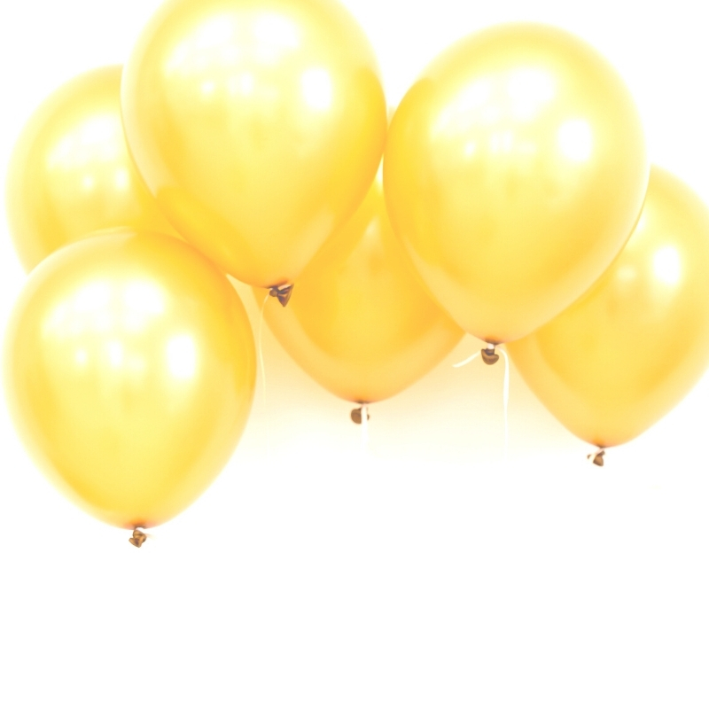 Bunch of yellow balloons on white background