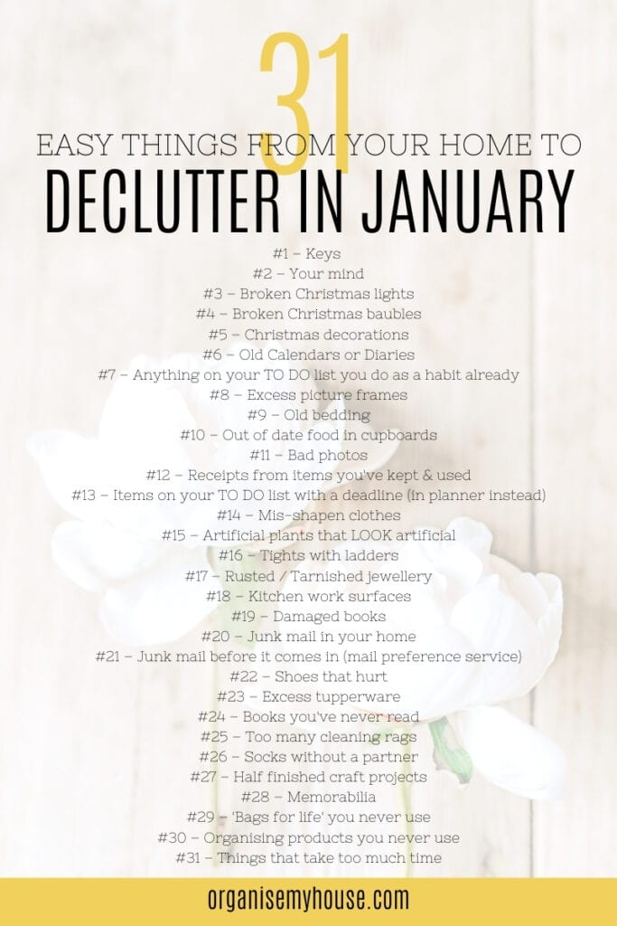 31 Things To Get Rid Of In January - Free Decluttering Checklist
