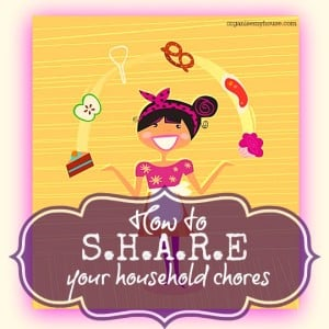 Sharing household chores - ways to make ijobs around the house more balanced and evenly allocated - via www.organisemyhouse.com