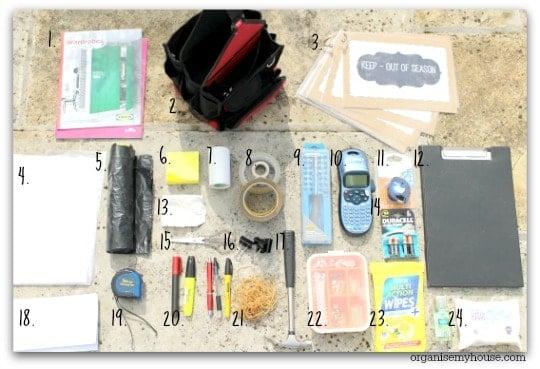 Items inside an organisers kit