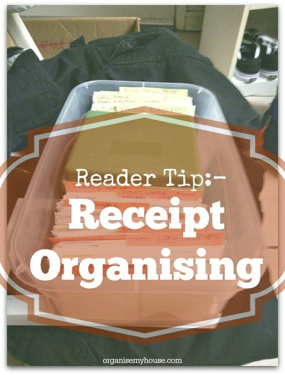 Reader Tips – How to organise receipts