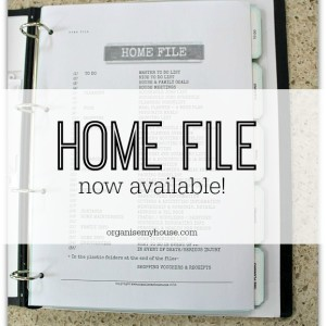 Home file now available from Organise My House