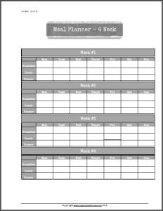 Meal planner example from my Home File