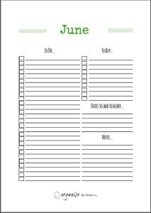 June TO DO list printable