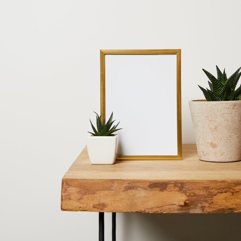 Wooden console table with plants and a white picture on top