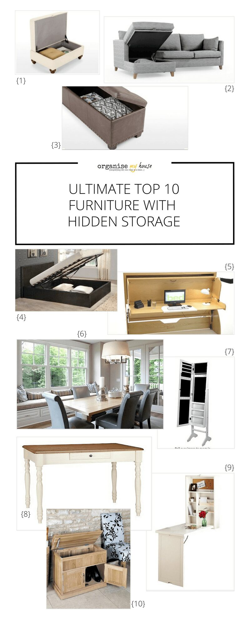 10 ultimate Hidden Storage Furniture ideas for your home. Choose furniture that has extra storage so you can live in a more minimal way - with everything out of the way and stored in the right places. Furniture for your home.