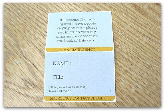 emergency card printable