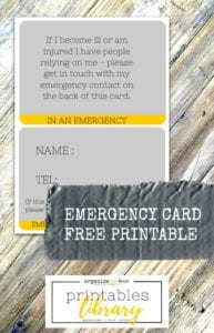 Emergency Card Free Printable for your purse or wallet - in case the worst should happen (accident planning / emergency etc..)