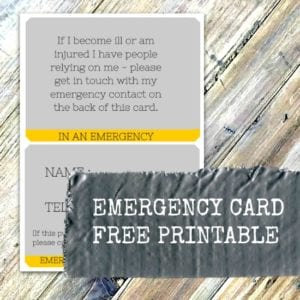 Emergency Card Free Printable for your purse or wallet