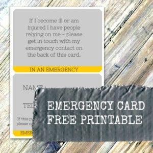 Emergency Card printable