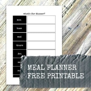 Meal planner free printables - somewhere to show everyone what's for dinner each night