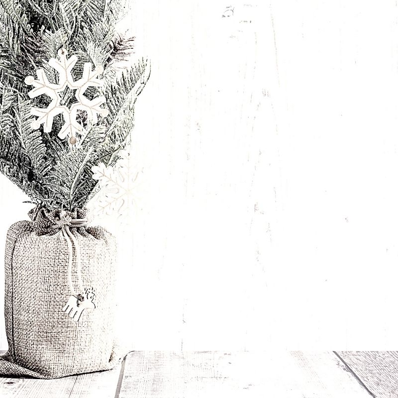 Black and white christmas tree with decorations