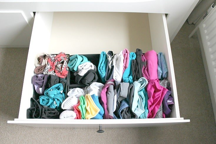 Filling my fitness clothes drawer