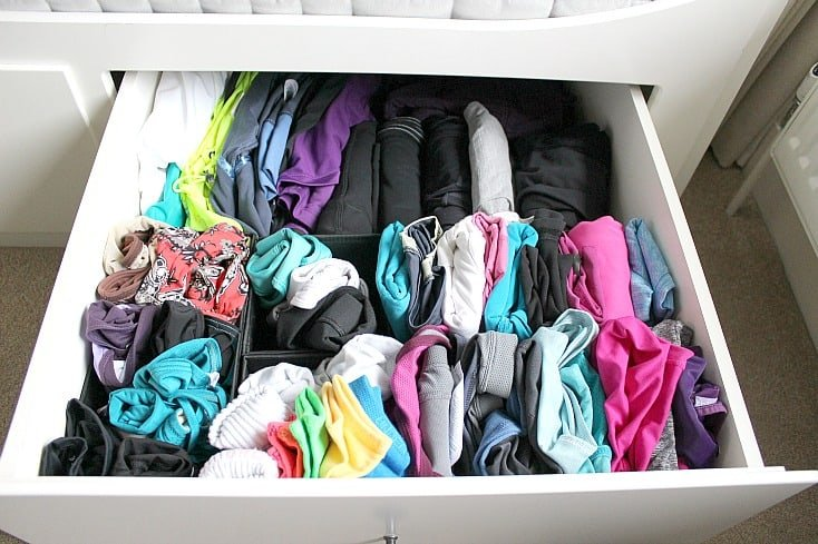 Fitness clothes drawer filled