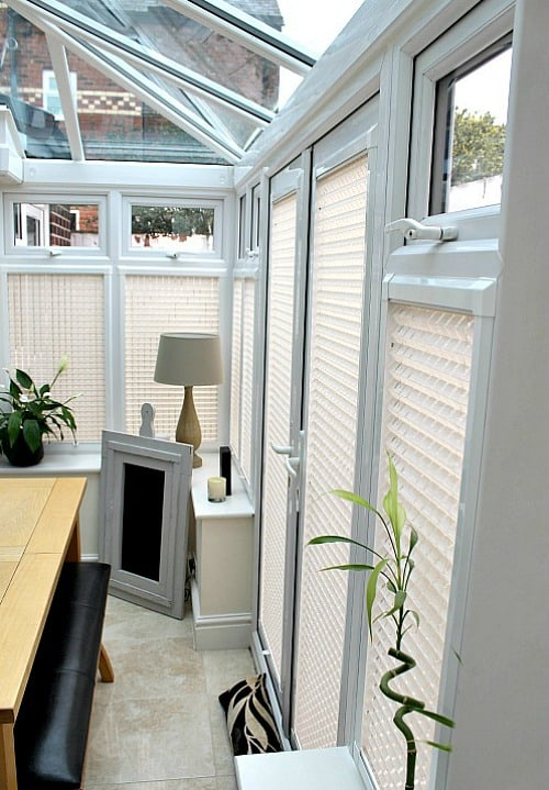 All blinds fitted in the conservatory