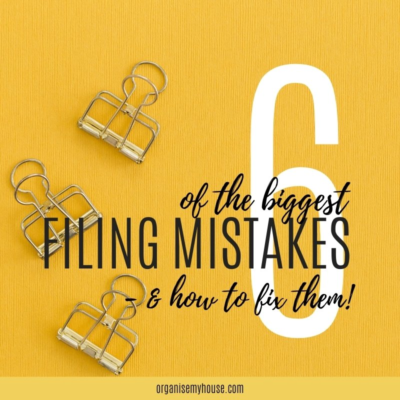 paper clips on a yellow background with title overlaid of 6 biggest filing mistakes and how to fix them