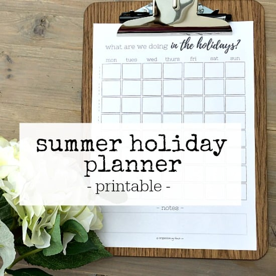 Printable to track what you are doing each day of the summer holidays at a glance - one sheet printable download