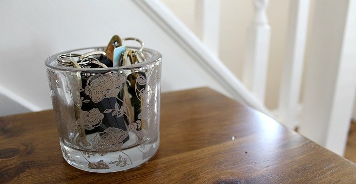 Glass bowl to put keys in by front door