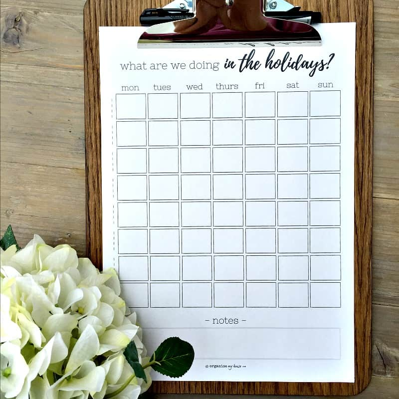 SUMMER HOLIDAY PLANNER from OrganiseMyHouse.com