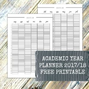Academic Year Planner 2017 2018 free printable