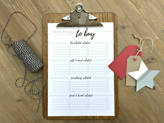 TO BUY list from Christmas Planner