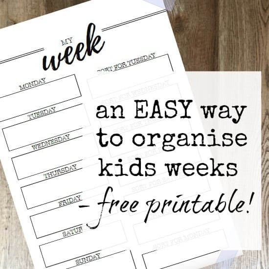 Weekly planner for the kids - free printable