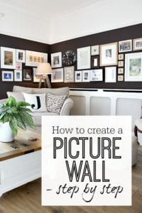 Creating a picture wall - gallery wall. Step by step guide with lots of ideas of how to get the best result. Inspirational photos as well. Display art on wall easily with these tricks