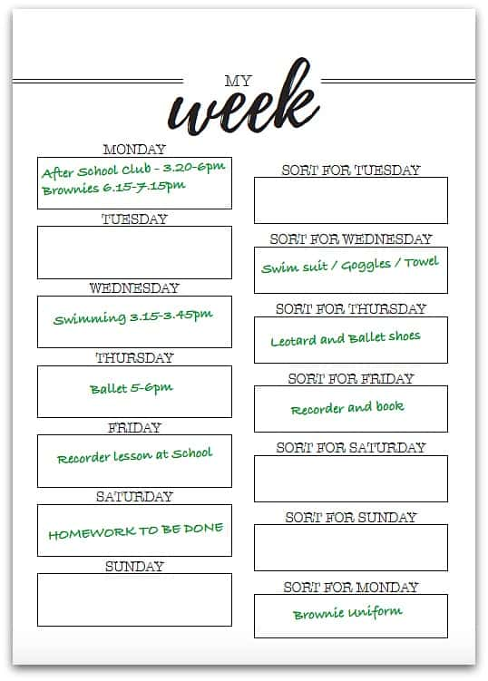 weekly planner for kids - filled in example