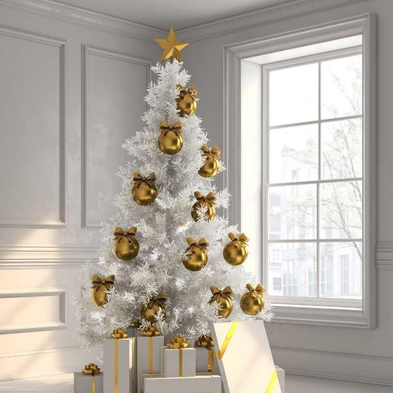 White Christmas tree with gold decorations