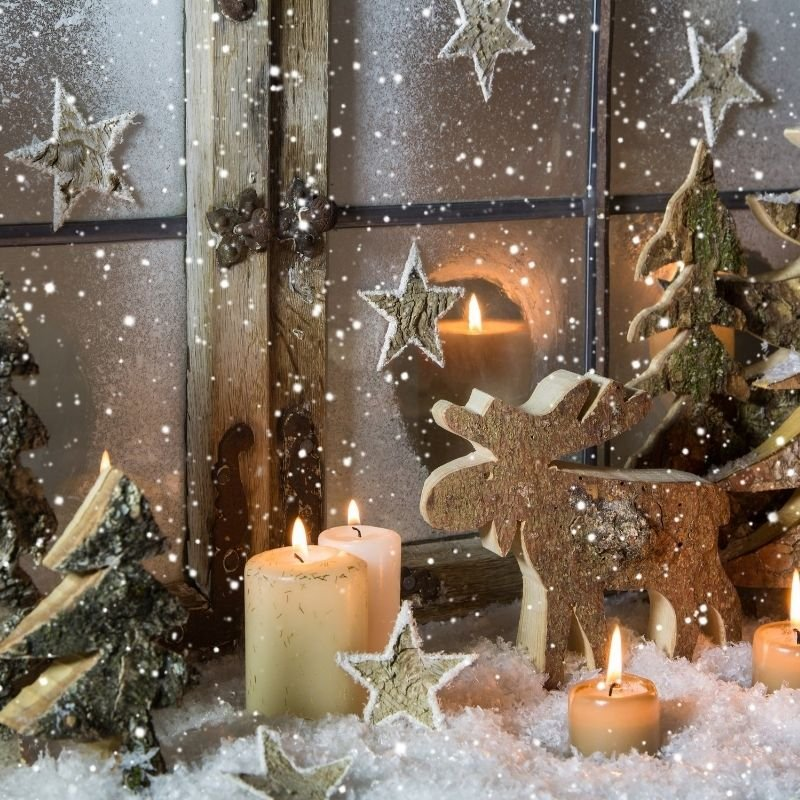 Christmas Eve scene - with candles and reindeer decoration