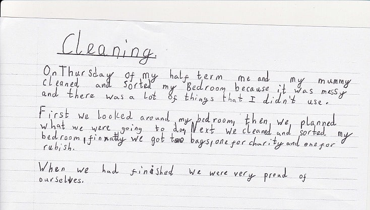 Kids cleaning tasks - writing about it!