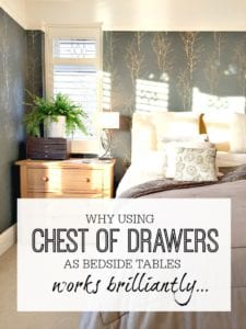Why using chests of drawers as bedside tables works really well. Master bedroom inspiration and ideas to make best use of the space. Master bedroom interior design and style