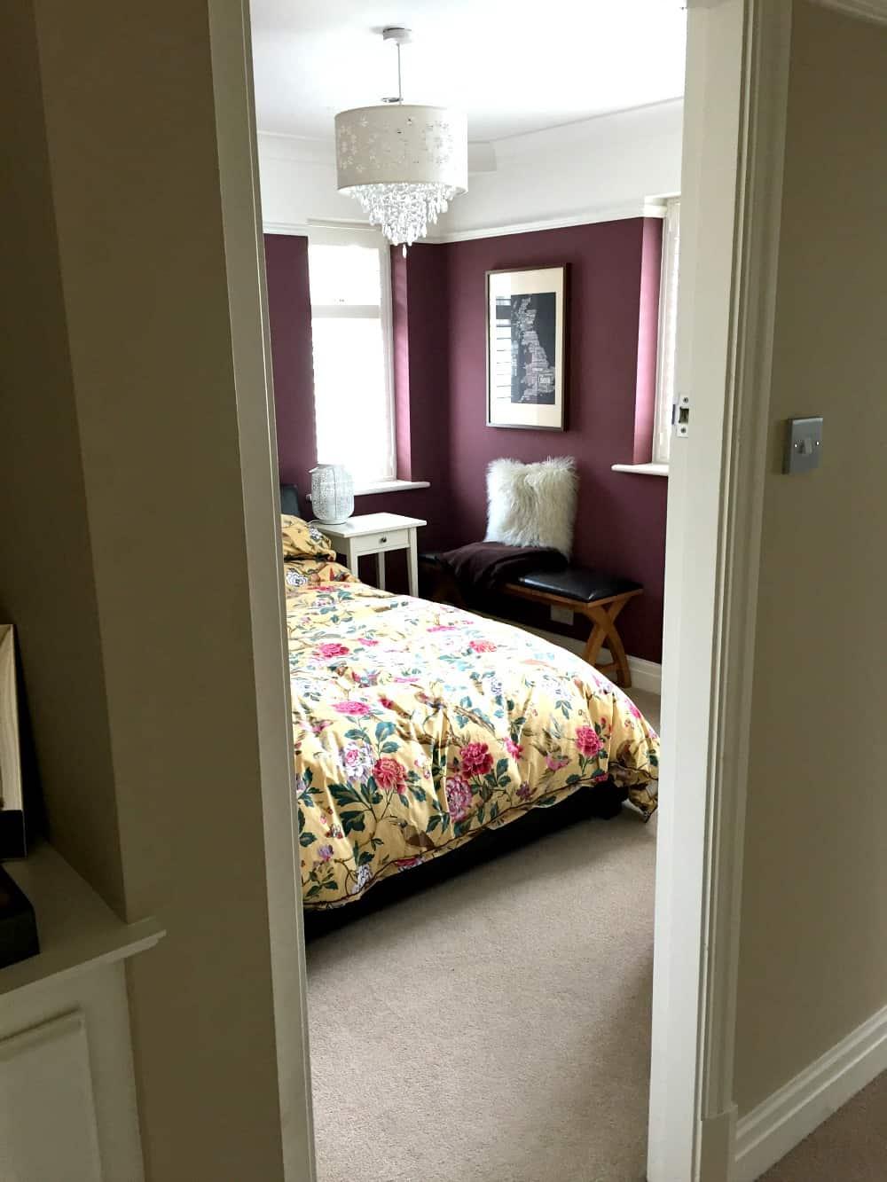 Little Greene paint company Adventurer paint - Dark bedroom walls - Aubergine coloured walls in bedroom - interior design - bedroom design