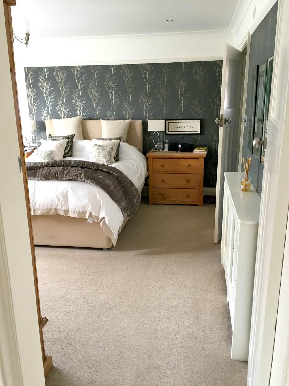 Dark grey wallpaper on walls in Master Bedroom - interior Design - Home Styling - John Lewis Birch Wallpaper
