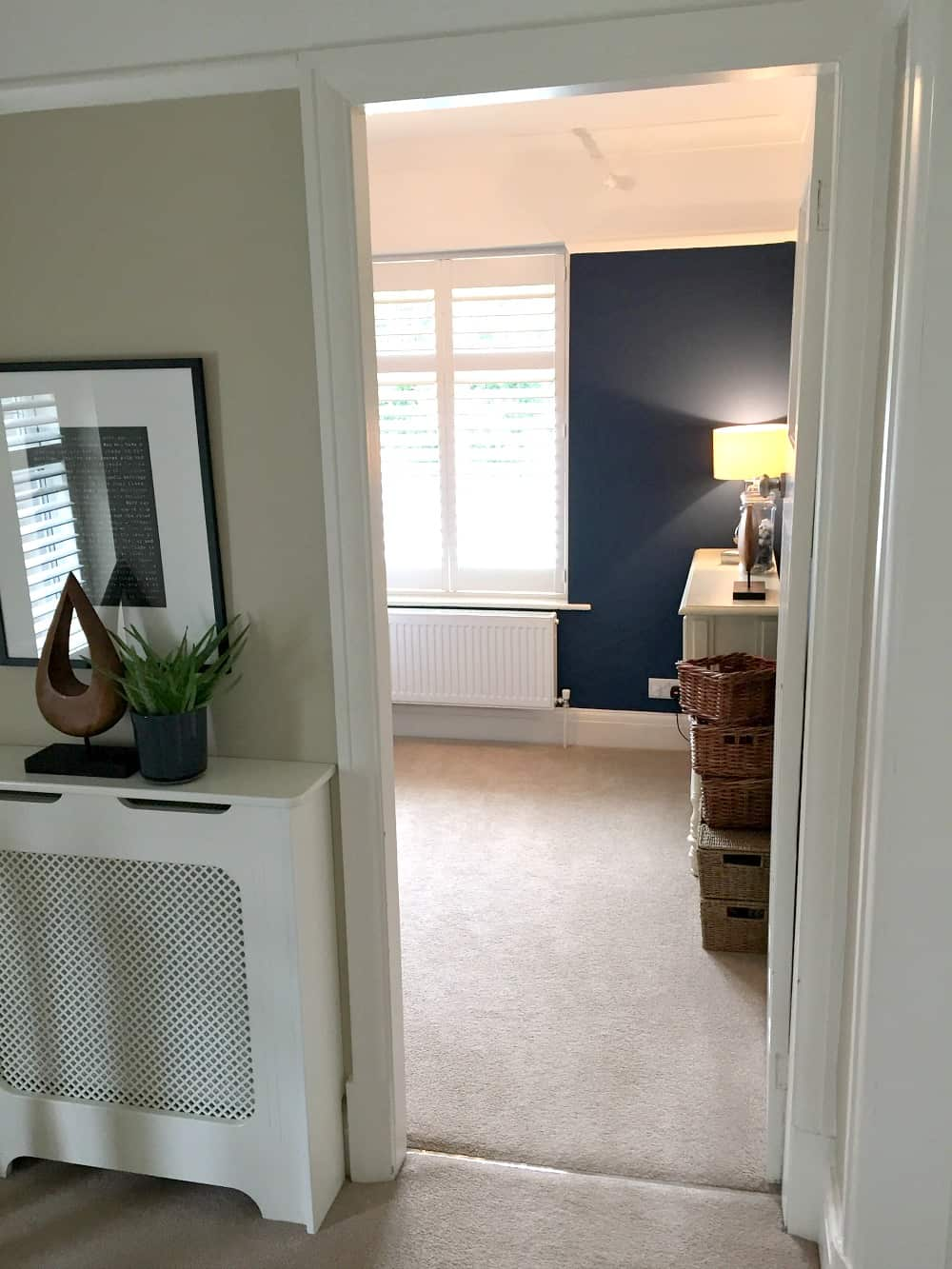 Small room with dark walls - dark blue painted walls in bedroom - Interior Design - Home styling - bedroom blue walls - B&Q paint Deep Blue Sea