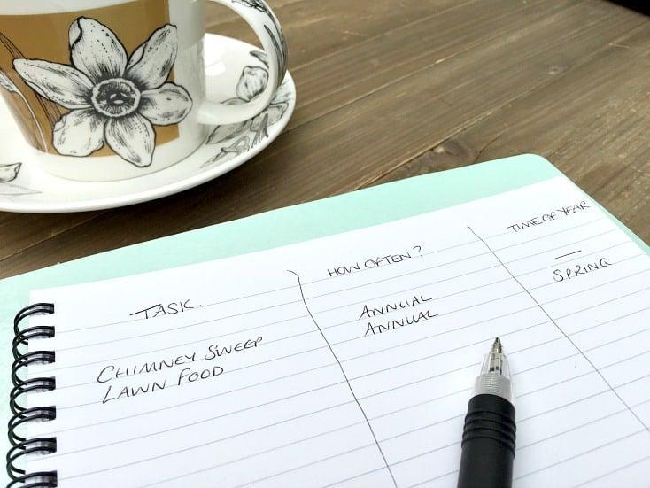 Home maintenance schedule step 2