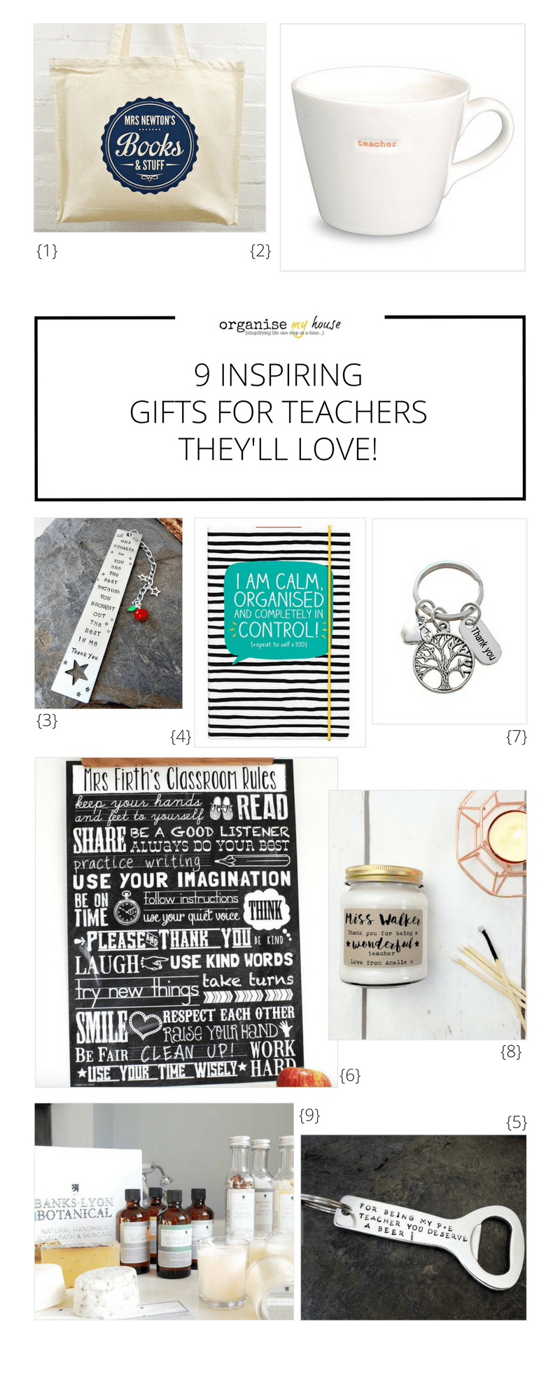 Amazing collection of gifts for teachers that your child could give this end of school year, Find inspiration for teachers presents with this gift guide for teachers. Teacher gifts / Teacher presents / End of school gift ideas that they will love!