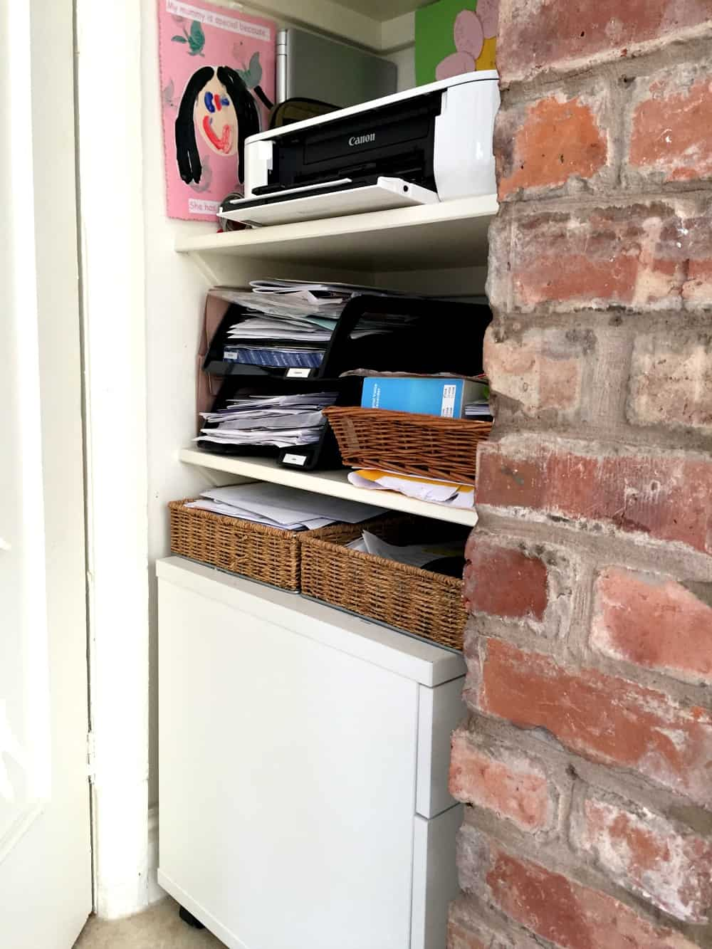 Paperwork basket storage