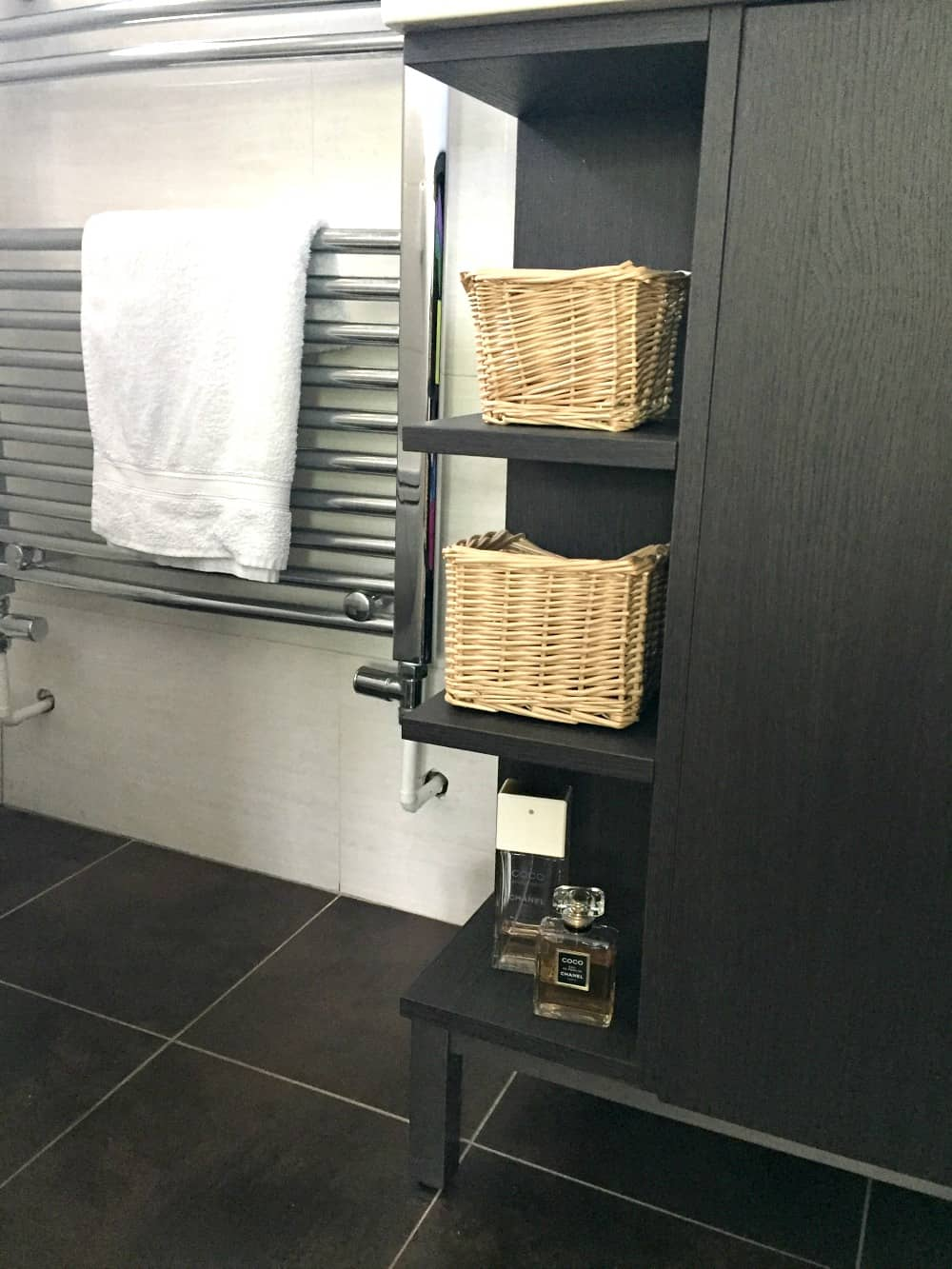 Basket storage on sink unit