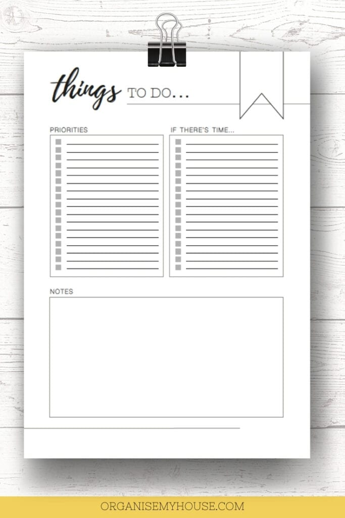 Free Printable TO DO list To Get Life More Organised