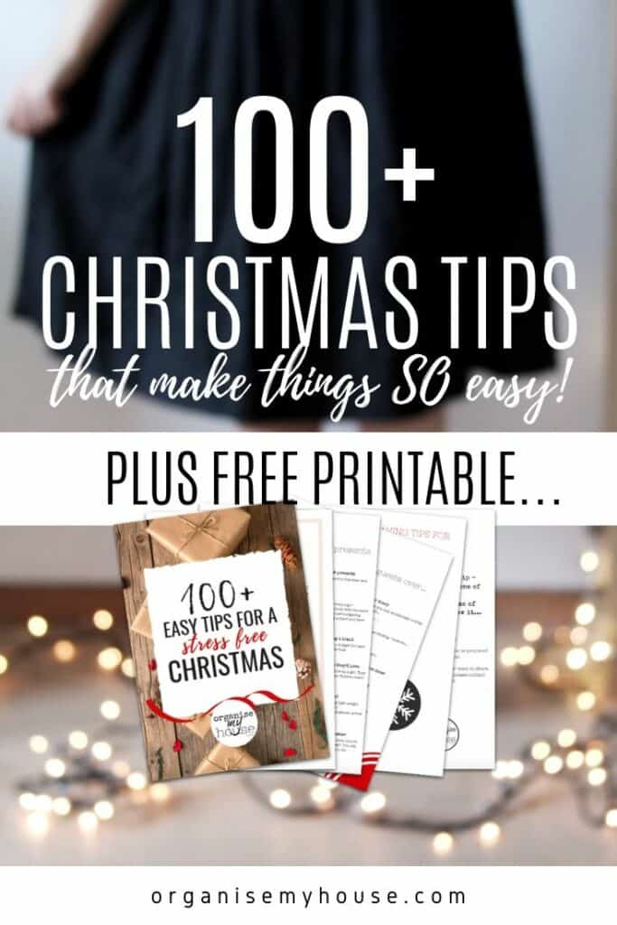 100 Christmas Tips eBook with Christmas Lights on floor
