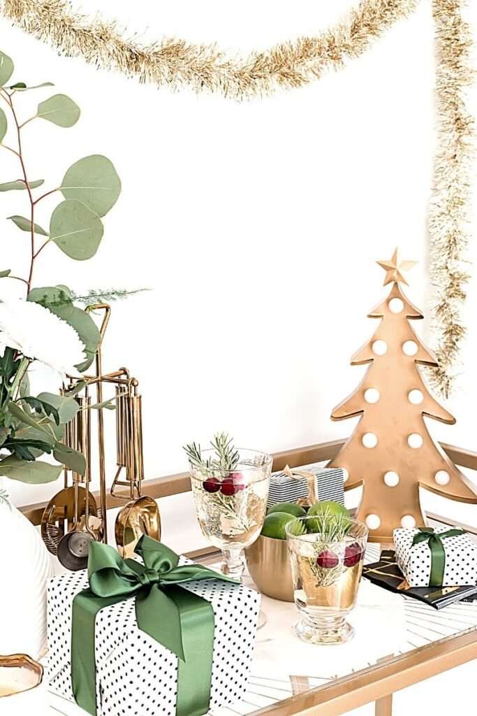 Green white and gold table decor ready for entertaining