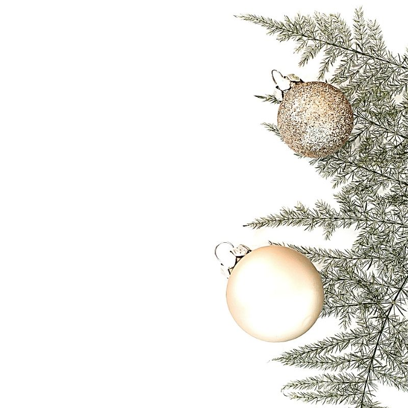 Gold and white baubles and sprig of pine tree
