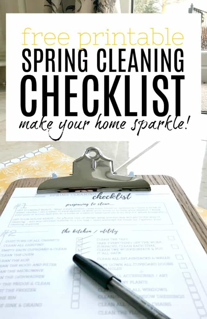 Free Printable Spring cleaning checklist on clipboard with words over the top