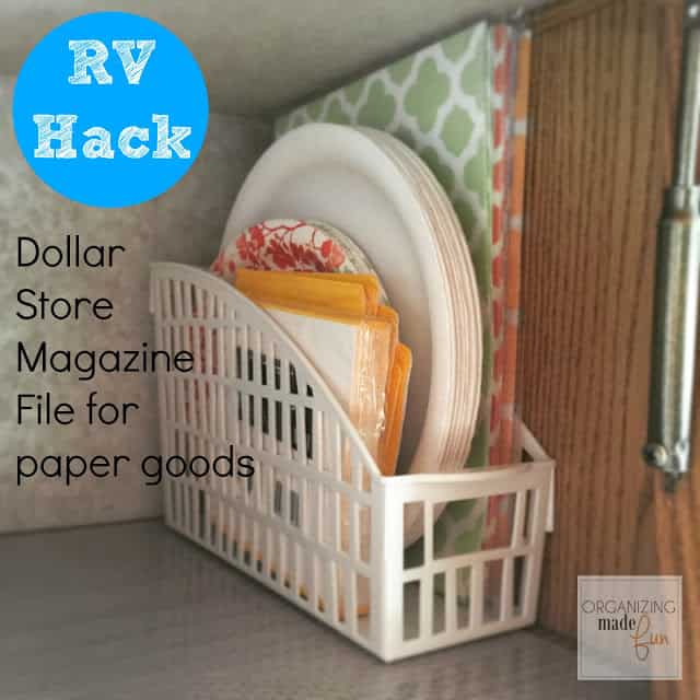 Storing kitchen paper goods in magazine files