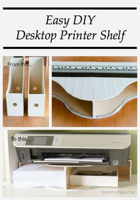 Using magazine files for printer paper storage and a shelf for the printer